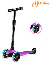 Purple Kick Scooter for Kids with 3 Big Light Up Wheels, Design For 2-5 Years