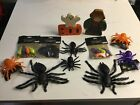 Lot Of 12 Halloween Decor, Spiders, Bats, Rats, Ghost, Scarecrow AS IS