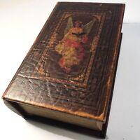 Vtg Trinket BOX Antique Leather Book Motif Aged Patina Old World Ethereal Angel