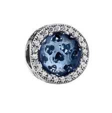 S925 Silver EURO Charm Ocean Blue Radiant Hearts Crystal by Pandora's Angels