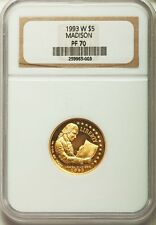 "U.S.  1993-W  $5  ""BILL OF RIGHTS"" COMMEMORATIVE GOLD COIN, NGC CERTIFIED PR70"