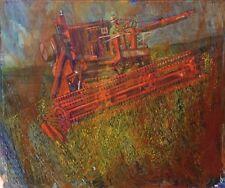 Vintage Industrial Farm Painting Artist? Gouache International Harvester Combine