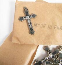 Vintage Ebony Inlay Nickel Small Budded Pectoral Crucifix Cross Religious NOS