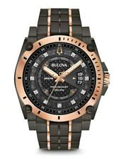 Bulova Men's Precisionist Diamond Grey & Rose Gold Watch Chronograph 98D149
