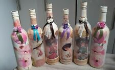 6 CONTEMPORARY DECORATIVE WINE BOTTLES IN  SHABBY CHIC STYLE