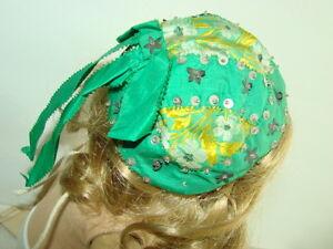 Vintage Antique 1800s Hat Bonnet Girls Ribbon Beaded  Embroidery Infant Doll