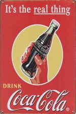 La Vraie Chose Coca Cola nostalgique Vintage Plaque Métal Signe d'autres en vente B410