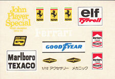 TAMIYA Decal pour Motor Racing Team Manager  1/12 RM1205 w/ tobacco sponsors
