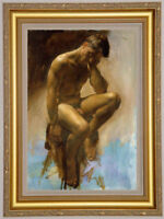 "Original Oil Painting art gay male nude on canvas 24""X36"""