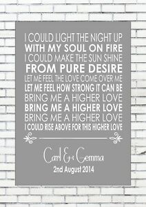 HIGHER LOVE – STEVE WINWOOD Wedding Anniversary Personalised First Dance Lyrics