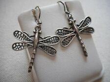 Sterling Silver Dragonfly Dangle Earrings  RE304