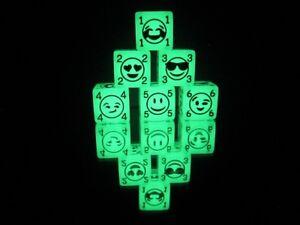 Emoji Dice! D6 Glow In the Dark acrylic, Custom 6 sided board game dice!