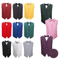DQT Boys Waistcoat Bow Tie Set Floral Paisley Wedding Vest FREE Pocket Square