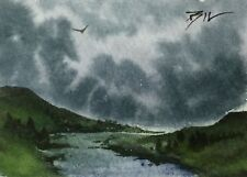 ACEO Miniature Painting by Bill Lupton - Storm in Yorkshire