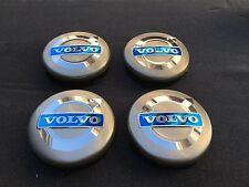 NEW 4PC SET OF 4 VOLVO GRAY CENTER WHEEL HUB CAPS COVER BLUE LOGO RIMS 3546923
