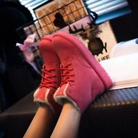 Women's Winter Warm Suede Ankle Snow Boots Fur Thicken Ski Flats Casual Shoes e1