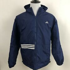 Vtg Retro Mens Adidas Jacket Three Stripe Quilted Puffer Coat Sz Large Navy Blue