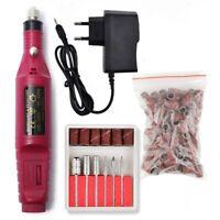 1 Set 6 Bits 100 Sanding Bands Nail Drill Electric Manicure Machine  20000RPM