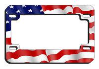USA Flag Motorcycle License Plate Frame Metal Gifts Men Ladies Bikers American