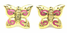 9ct Yellow Gold Small Butterfly Stud Earrings with Pink Enamel Wing Detail  4759