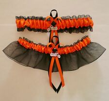 Harley PLUS SIZE Orange Black Wedding Bridal Prom  Garter Set  Motorcycle Charm