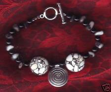 BRACELET TURQUOISE Howlite black and white & glass beads Gift Woman