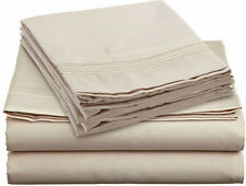NEW SOFT WRINKLE FREE COTTON FEEL BED SHEETS SET DEEP POCKET KING SIZE BEIGE