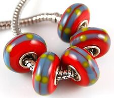 5pcs Red Aqua Blue  Large Hole Lampwork Glass Beads Fit European Charm Bracelet