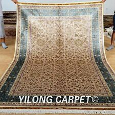 Yilong 6'x9' Persian Style Silk Rugs Qum Hand Craft Carpets Shop Hand made 0263