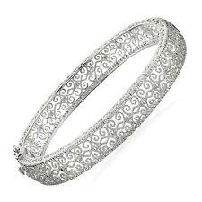 "Filigree Bangle Bracelet with Diamond in Sterling Silver, 7.25"""
