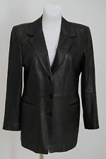WOMENS BASIC COAT JACKET 100 % GENUINE LEATHER BLACK FITTED SIZE L LARGE VGC