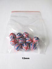 10pcs 12 mm Rond Union Jack Drapeau Acrylique Perles Fabrication de Bijoux Craft UK