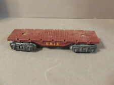 MARX O SCALE ERIE BROWN FLAT TRAIN RAILROAD CAR WITH METAL WHEELS (T-11)