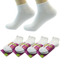 (White) 12 Pairs Ankle/Quarter Crew for Women Socks Cotton Low Cut Size 9-11
