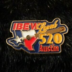 IBEW Brotherhood Electrical Workers Lapel Pin Local 520 Austin, Texas