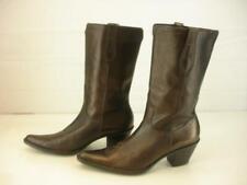 Womens sz 9 M Franco Sarto Dark Bronze Brown Leather Western Boots Cowboy Riding