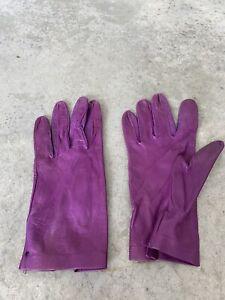 Womens Purple Leather Wrist Length Gloves Size 7