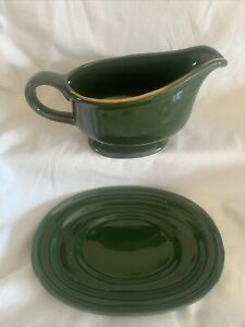APILCO green and gold 1 X GRAVY BOAT/SAUCE JUG AND STAND VGC