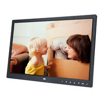"15"" Digital Photo Frame LED Picture Video Player Black + Remote Clock Calendar L"