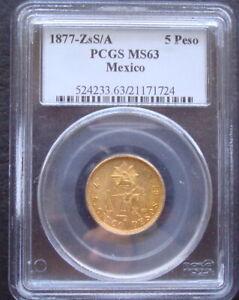 Mexico RARE  1877-ZsS/A $5 Pesos Gold PCGS MS63 Please See The Coin Hm#412-7 Zac