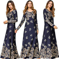 Women Muslim Floral Printed Kaftan Abaya Islamic Vintage Jilbab Long Maxi Dress