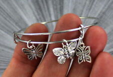 Butterfly  Bangle Bracelet Stainless Steel Adjustable  Wire Wrapped  with Charms