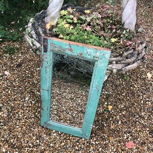 🌟Vintage French Green Painted Distressed Weathered Wooden Framed Mirror Rustic