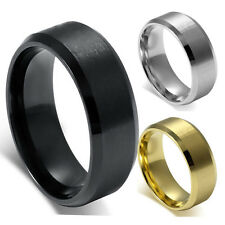 8MM Stainless Steel Ring Band Titanium Silver Black Gold Mens SZ 7 to 15 Wedding