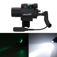 Combo LED High Flashlight+Green/RED Laser Sight 20mm Rail For Hunting Outdoor