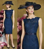 Navy Blue Lace Mother of the Bride Dress Formal Evening Party Ball Dress Size 6+