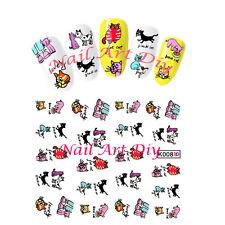 Nail art water transfer stickers-Adesivi Unglie-Ricostruzione Unghie-BLACK CAT!!