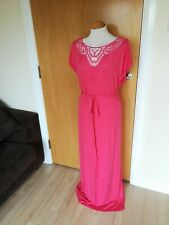 Ladies BM Dress Size 22 Coral Pink Long Maxi Stretch Jersey Embroidered Top