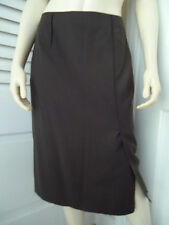 MAGASCHONI Skirt 4 Straight Dark Green Lightweight Wool Fitted Front Slit Lined