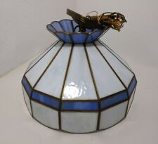 Vintage Stained Glass Hanging Lamp Light Tiffany Mission Style Blue/White